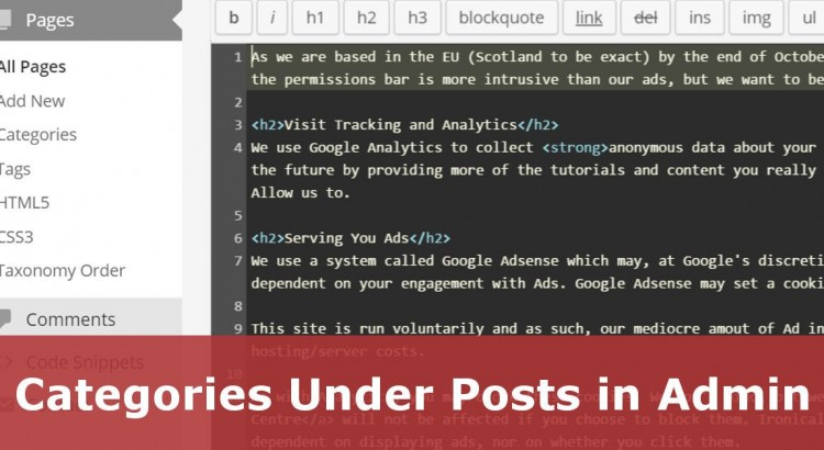 Add Categories Under Posts or Pages in Wordpress Back Office Admin