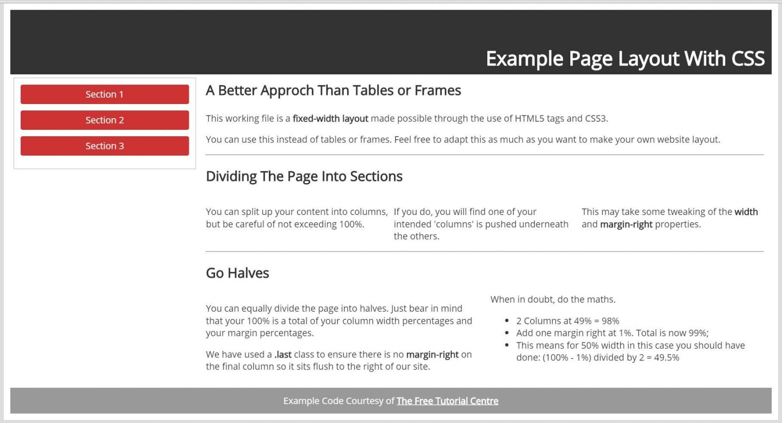 Web page layout with css no tables or frames for Table th fixed css